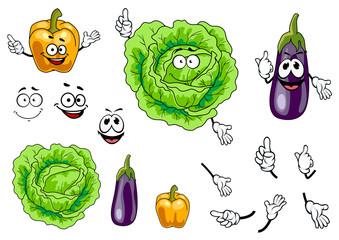 Cabbage, pepper and eggplant vegetables