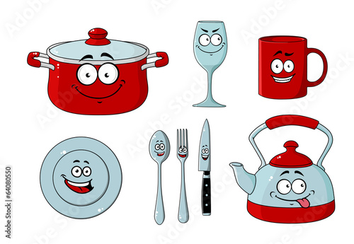 Cartoon dishware and kitchenware set