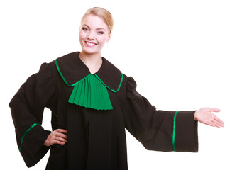 Woman lawyer attorney in classic polish gown in welcome gesture