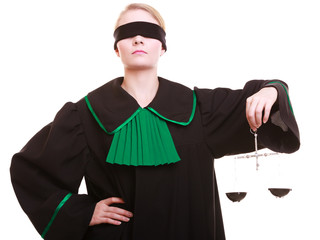 lawyer attorney in classic polish black green gown and scales