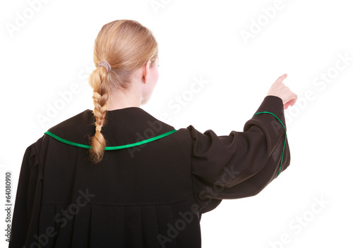Woman polish lawyer back view pointing direction with finger