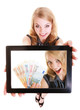 Businesswoman showing ipad tablet touchpad photo euro money