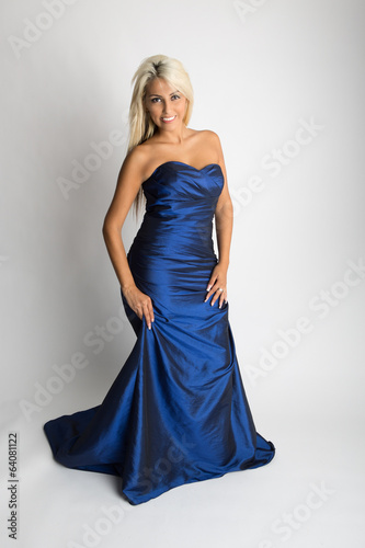 Young woman in formal blue  dress,