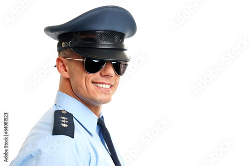 Policeman with sunglasses, left you can write some text