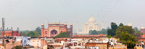 Panorama of Taj Mahal view over roofs of Agra