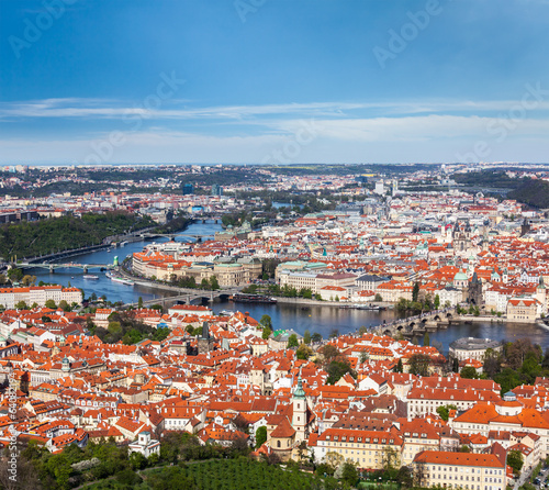 View of Charles Bridge over Vltava river and Old city from Petri
