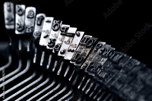 Old typewriter. Typebars closeup.
