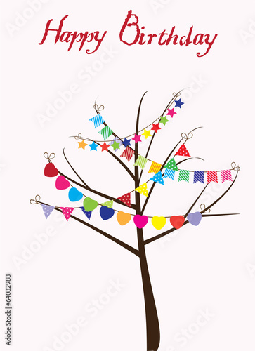 vector tree with bunting