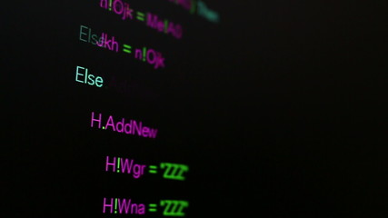 Computer code on LCD monitor