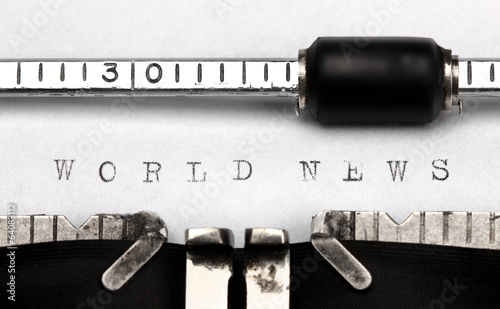 """World news"" written on an old typewriter"