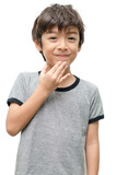 Fototapety Thank you kid hand sign language on white background