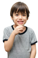 Drink kid hand sign language on white background