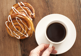 Coffee with fresh Danish pastries