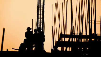construction worker silhouette on the work place