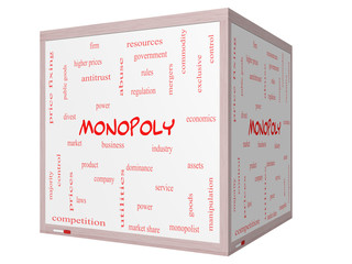 Monopoly Word Cloud Concept on a 3D cube Whiteboard
