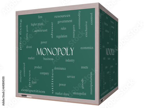 Monopoly Word Cloud Concept on a 3D cube Blackboard