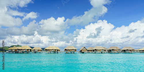 Beautiful Bora Bora and famous bungalows