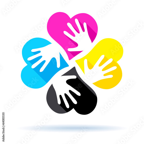 Hearts with hand CMYK colors mode - printing concept