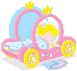 Girl sleeps in a bed - carriage of a princess