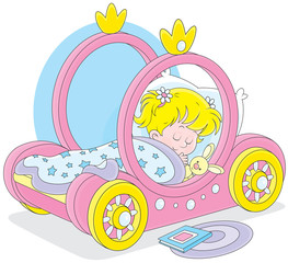 Little girl sleeps in her bed - carriage of a princess