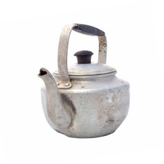 Small classic kettle for camping isolated on white background