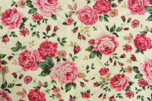 Fotobehang Stof Rose design seamless pattern on fabric background