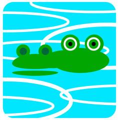 Vector icon illustration of cute animal, Crocodile