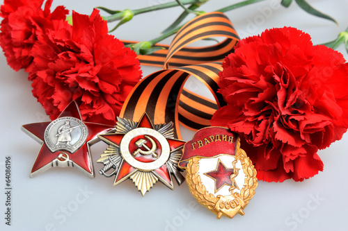 Saint George ribbon with orders of Great Patriotic, red carnatio