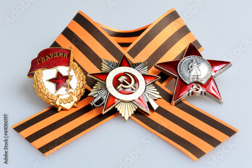 Saint George ribbon with orders of Great Patriotic war on gray