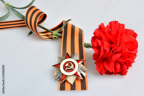 Red flower, Saint George ribbon, order of Great patriotic war