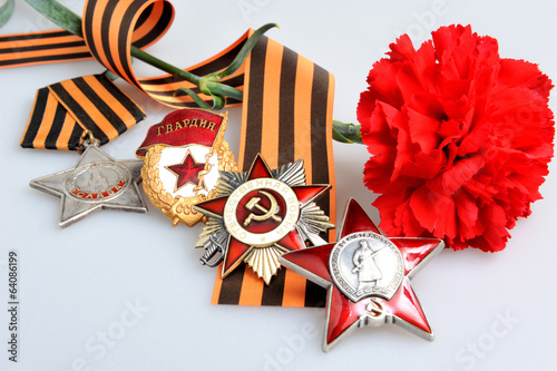 Red Flower, Saint George ribbon, orders of Great patriotic war