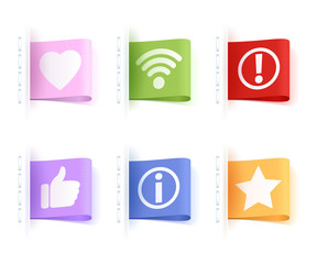 Notification icons tags. Colorful labels.