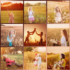 collage with images at sunset