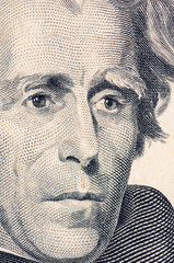 The face of Jackson the dollar bill macro
