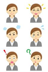 スーツの女性1 6つの表情