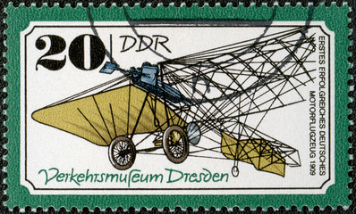 GERMANY - 1977: shows irst successful German plane, 1909