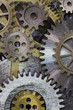 Leinwandbild Motiv clock gears and cogs background