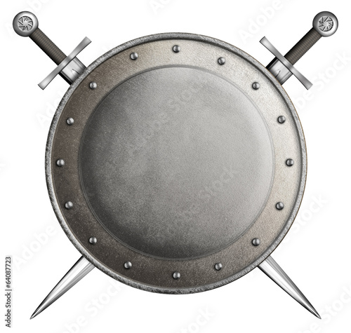 medieval round shield with two swords isolated on white