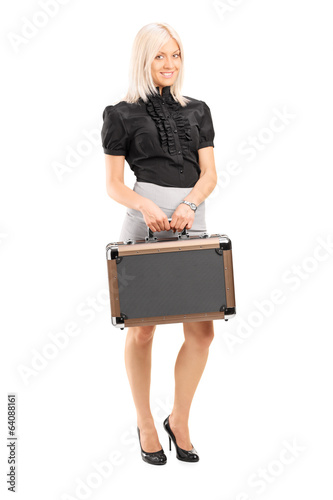 Blond woman holding a briefcase