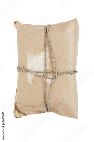 Post parcel on white background