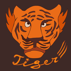 tiger vector illustration, hand drawn