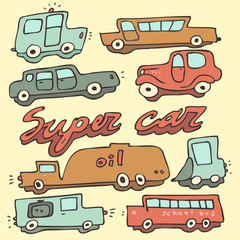 Retro cars, vintage cars, vector illustration, hand drawn