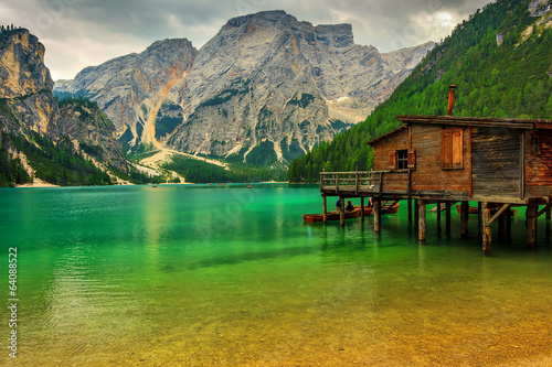 Boathouse at the Braies Lake on a cloudy day,Dolomites,Italy