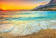 Amazing sunset over the sea,Makarska,Croatia