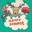 Deer Hipster in holiday, vector illustration, hand drawn