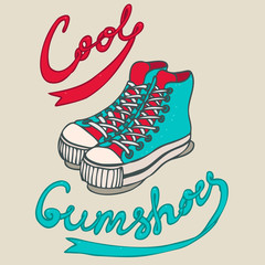 hipster gumshoes, vector illustration, hand drawn
