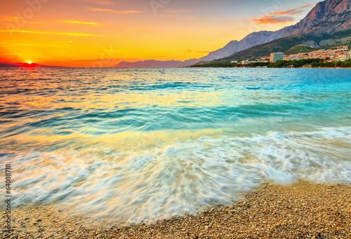 Fotobehang Zonsondergang op het Strand Amazing sunset over the sea,Makarska,Croatia