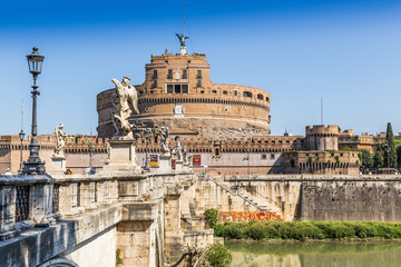 St. Andel Castle and Tiber river in Rome, Italy