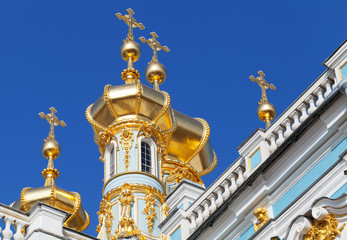 Golden domes of the Orthodox Church. The Catherine Palace, Tsars