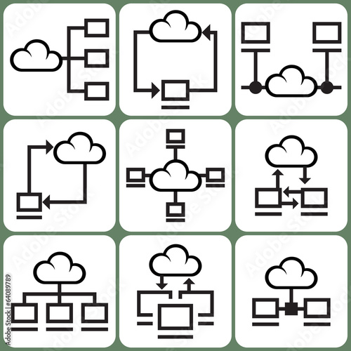 Cloud Computing and Network Icons Set
